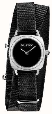 Briston   klubmeisterin dame   einzelnes schwarzes nato armband   schwarzes Zifferblatt   19924.S.M.1.NB
