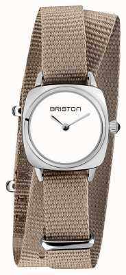 Briston   klubmeisterin dame   einzelnes taupe nato armband   weißes Zifferblatt   19924.S.M.2.NT
