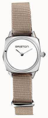 Briston | klubmeisterin dame | einzelnes taupe nato armband | weißes Zifferblatt | 19924.S.M.2.NT - SINGLESTRAP