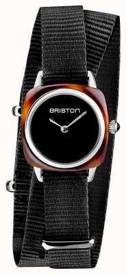 Briston | klubmeisterin dame | einzelne schwarze nato | Schildkrötenacetat | 19924.SA.T.1.NB
