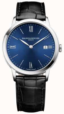 Baume & Mercier   mens classima   schwarzes Lederband   blaues Zifferblatt   M0A10324