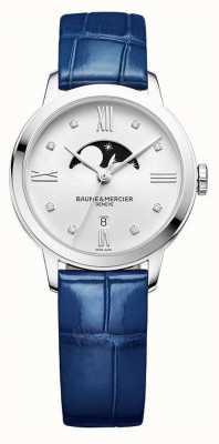 Baume & Mercier | Frauen classima | blaues Leder | silbernes Mondphasen Zifferblatt | M0A10329