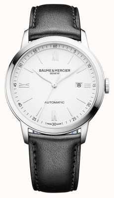 Baume & Mercier | Mens Classima | automatisch | schwarzes Leder | weißes Zifferblatt | M0A10332
