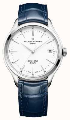 Baume & Mercier | Herren Clifton | baumatic | blaues Leder | weißes Zifferblatt | M0A10398