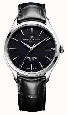 Baume & Mercier | Herren Clifton | baumatic | schwarzes Leder | schwarzes Zifferblatt | M0A10399