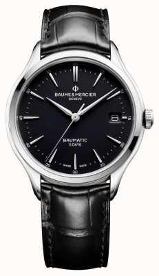 Baume & Mercier   Herren Clifton   baumatisch   schwarzes Leder   schwarzes Zifferblatt   M0A10399