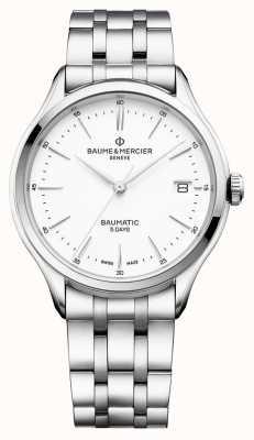 Baume & Mercier | Herren Clifton | baumatic | Edelstahl | weißes Zifferblatt | M0A10400