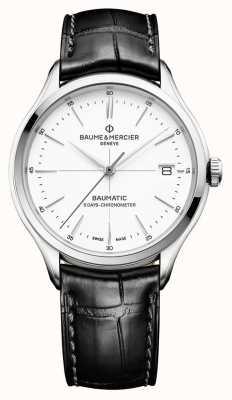 Baume & Mercier | Herren Clifton | baumatisch | schwarzes Leder | weißes Zifferblatt | M0A10436