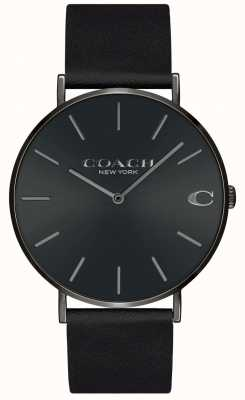 Coach | herren | charles | schwarzes Lederband | schwarzes Zifferblatt | 14602434