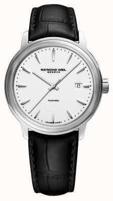 Raymond Weil | Herren Maestro | auto | schwarzes Lederband | weißes Zifferblatt | 2237-STC-30011