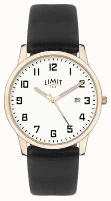 Limit | Herren schwarzes Leder | silbernes Zifferblatt | Goldgehäuse | 5742.01