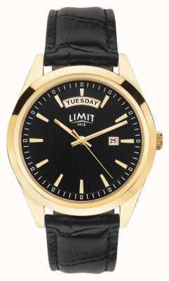 Limit | schwarzes Lederarmband für Herren | schwarzes Zifferblatt | Goldgehäuse | 5750.01
