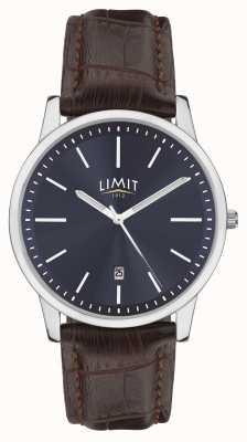 Limit | braunes Herrenlederband | blaues Zifferblatt | silbernes Gehäuse | 5745.01