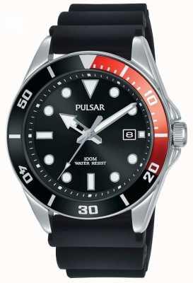 Pulsar | Freizeitsport | schwarzes Kautschukband | schwarzes Zifferblatt | PG8297X1