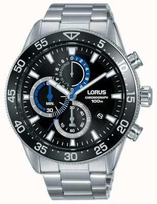 Lorus | herren chronograph | schwarzes Zifferblatt | Edelstahlarmband | RM335FX9