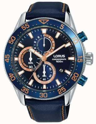Lorus | herren chronograph | blaue Lünette | blaues Leder | blaues Zifferblatt | RM341FX9