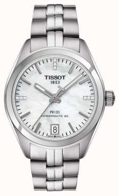 Tissot Womens PR 100 Powermatic 80 Edelstahl Perlmutt T1012071111600