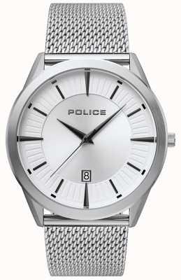 Police | Herren Patriot | Edelstahlgewebe Armband | silbernes Zifferblatt 15305JS/04MM