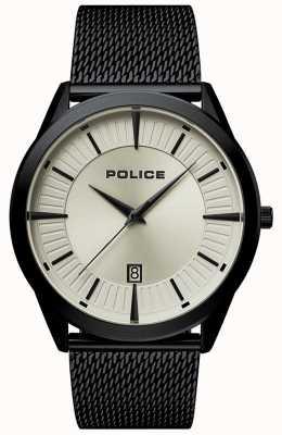 Police | Herren Patriot | schwarzes mesh armband | beige zifferblatt | 15305JSB/79MM