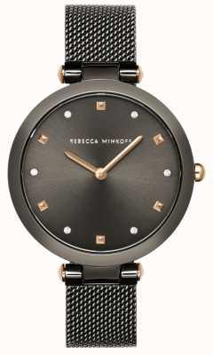 Rebecca Minkoff Die nina der frauen | graues Mesh-Armband | graues Zifferblatt | 2200302