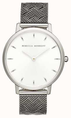 Rebecca Minkoff Womens major | Edelstahlgewebe Armband | silbernes Zifferblatt | 2200297