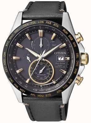 Citizen | Herren Eco-Drive Weltchronograph bei | schwarzes Lederband AT8158-14H