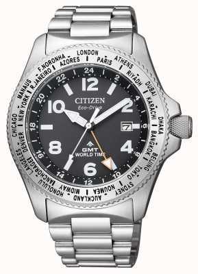 Citizen | Herren Eco-Drive Promaster GMT | schwarzes Zifferblatt | rostfreier Stahl BJ7100-82E