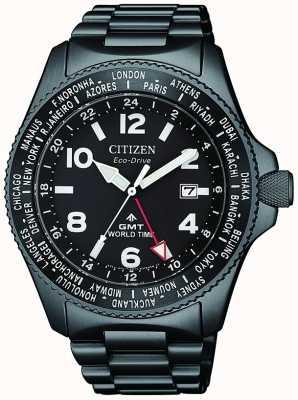 Citizen | Herren Eco-Drive Promaster GMT | schwarzes Zifferblatt | graue pvd BJ7107-83E