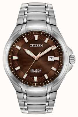 Citizen | Herren Eco-Drive | Titan Armband | braunes Zifferblatt | BM7431-51X
