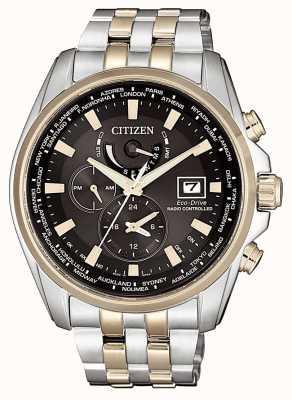 Citizen | Herren Eco-Drive Weltzeit bei | zweifarbiges Armband | AT9038-53E
