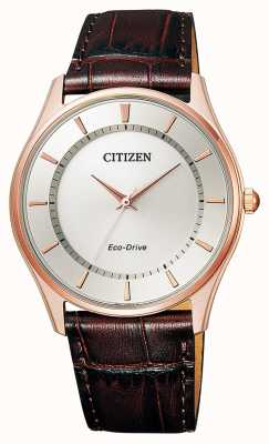 Citizen | Herren Eco-Drive | braunes Lederband | silbernes Zifferblatt | BJ6483-01A
