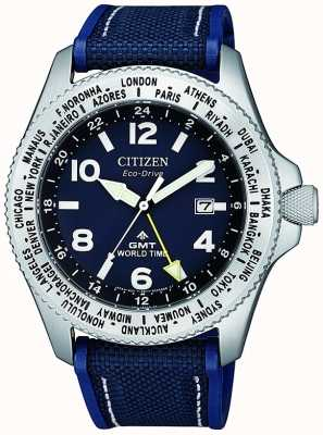 Citizen | herren eco-drive promaster gmt | blaues Zifferblatt | blaues Armband | BJ7100-15L