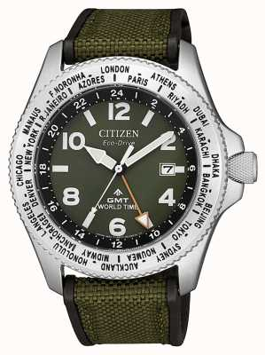Citizen | herren | eco-drive promaster gmt | grüne Leinwand | BJ7100-23X