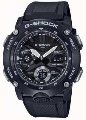 Casio | g-shock carbon kernschutz | schwarzes Kautschukband | GA-2000S-1AER