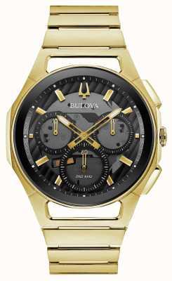 Bulova | Kurve | herren | goldfarbenes Armband | schwarzes chrono zifferblatt | 97A144