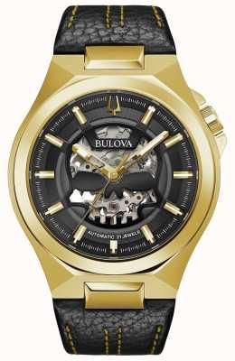 Bulova | maquina | herren | automatisch | schwarzes Lederband | 97A148