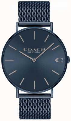 Coach Herren charles | blaues ip mesh stahlarmband | blaues Zifferblatt 14602146