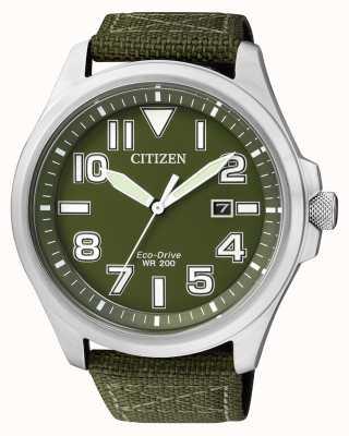 Citizen | Herren Eco-Drive | grünes Nylonband | grünes Zifferblatt | AW1410-32X