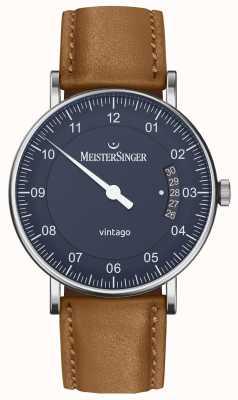 MeisterSinger | herren vintago | automatisch | braunes Leder | blaues Zifferblatt VT908
