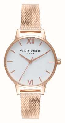 Olivia Burton | Frauen | Roségold-Mesh-Armband | weißes Zifferblatt | OB16MDW01