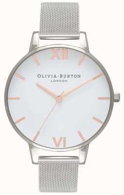 Olivia Burton   Frauen   weißes Zifferblatt   silbernes Netzarmband   OB16BD97