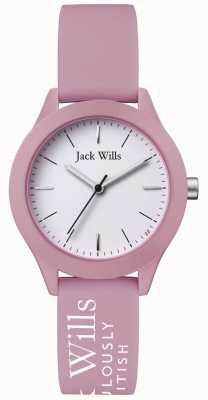 Jack Wills | Frauengewerkschaft | weißes Zifferblatt | rosa silikonarmband | JW008PKWH