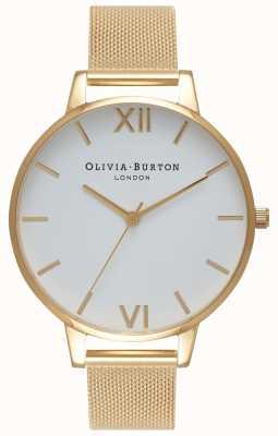 Olivia Burton | Frauen | weißes Zifferblatt | goldenes Netzarmband | OB15BD84