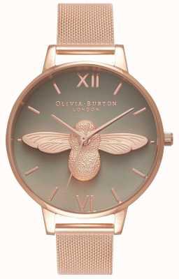 Olivia Burton | Frauen | 3d biene | Roségold-Mesh-Armband | graues Zifferblatt | OB16AM117