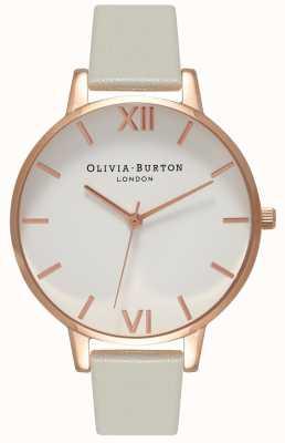 Olivia Burton | Frauen | weißes Zifferblatt | graues Lederband | OB15BDW02