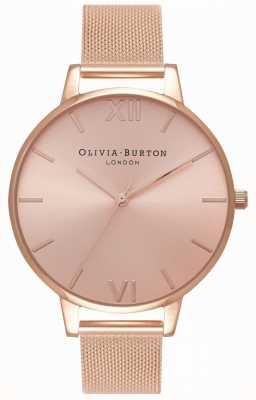 Olivia Burton | Frauen | großes sunray zifferblatt | Roségold-Mesh-Armband | OB16BD102