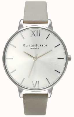 Olivia Burton | Frauen | silbernes Zifferblatt | graues Lederband | OB15BD57