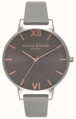 Olivia Burton | Frauen | großes graues Zifferblatt | graues Lederband | OB16BD90