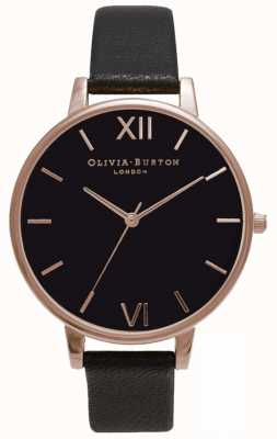 Olivia Burton | Frauen | schwarzes Zifferblatt | schwarzes Lederband | OB15BD66