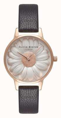 Olivia Burton | Frauen | 3d daisy zifferblatt | schwarzes Lederband | OB16FS97